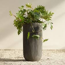 Indoor Planters Fiber Concrete Tall Barrel Pot Terrain