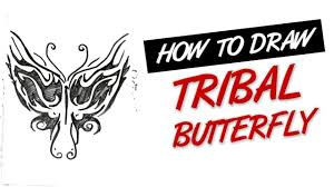how to draw butterfly tribal design