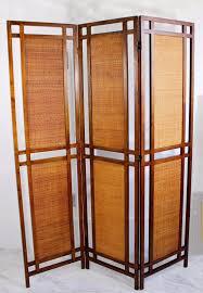 Folding Screen Room Divider Mid Century Modern Cane Rattan Walnut 3 Fold Screen Room Divider