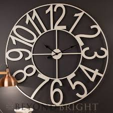 large wall clock 100cm white numbers metal industrial french