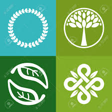 Tree Symbols Vector Abstract Emblem Flower And Tree Symbols Concept For