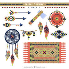 ethnic ornaments and objects in flat design vector free