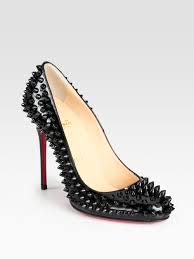 christian louboutin fifi spiked patent leather pumps lyst