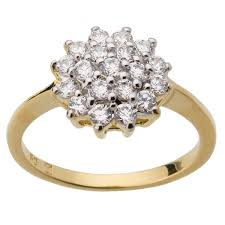 round setting rings images Yellow gold plated cluster engagement or dress ring round shape jpg