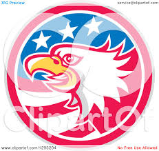 Flag Circle Clipart Of A Retro Tough Bald Eagle Head In A Gray Red White And