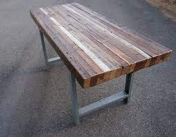 patio table ideas with rectangle reclaimed wood table with metal