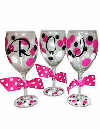 wine glass with initials personalized wine glasses with polka dots and initial