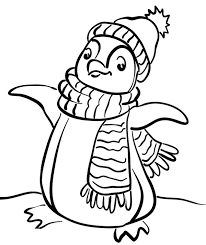 penguin wear scarf coloring penguin coloring pages
