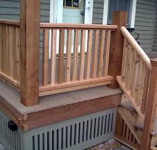 cedar deck railing ideas wood kimberly porch and garden best