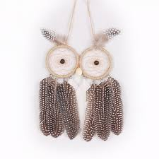 hanging ornament owl feather catcher two rings