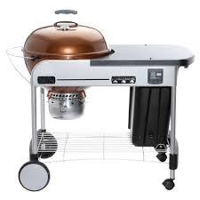 weber 22 in performer premium charcoal grill in copper with built