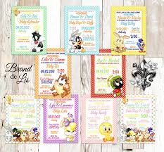 looney tunes baby shower looney tunes baby shower invitations bugs bunny daffy duck