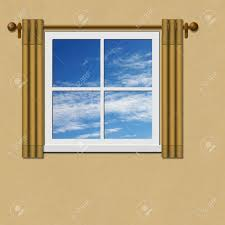 Curtains Drapes A Window With Curtains Drapes And Blue Sky Stock Photo Picture