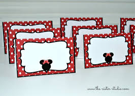 minnie mouse card table 12 minnie mouse place cards table tents food by thesisterstudio