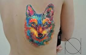 watercolor wolf on back