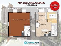30sqm Asia Enclaves 36sqm Floor Plan Condo Ni Kuya