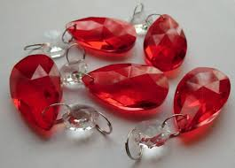 Glass Crystal Chandelier Drops 5 Red Chandelier Drops Glass Crystals Shabby Droplets Chic Almond