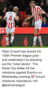 Peter Crouch Meme - allen het30 lec peter crouch has scored his 100th premier league