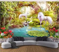 popular wall mural wallpaper forest buy cheap wall mural wallpaper custom mural photo 3d wallpaper forest white horse unicorn room decoration painting 3d wall murals wallpaper