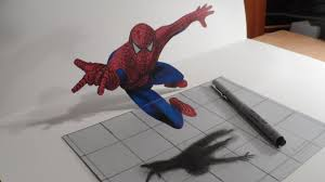 3d drawing spiderman trick art draw heroes how to draw 3d