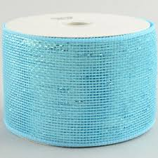 deco mesh ribbon 4 poly deco mesh ribbon metallic turquoise blue rs200544