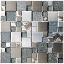 Modern Cobble Stainless Steel With Silver Glass Metal Tile - Glass and metal tile backsplash