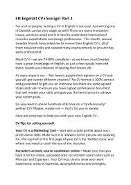 Best Resume Names For Monster by Ett Engelskt Cv I Sverige Helpful Advice On Writing An English Cv
