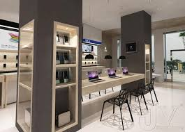 shop design electronic shop design wooden display furniture