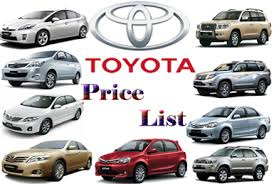 toyota vehicles price list list of toyota cars
