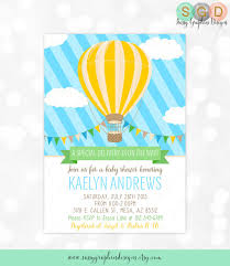 balloon delivery mesa az hot air balloon baby shower invitation baby boy blue yellow