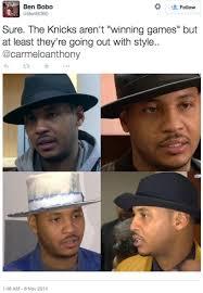 Fedora Hat Meme - carmelo anthony s bizarre hat sparks memes hilarious reactions