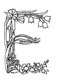 Coloriage alphabet fleurs e sur Hugolescargotcom