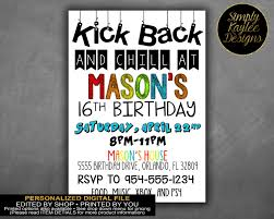 kick back and chill teen birthday party invitation
