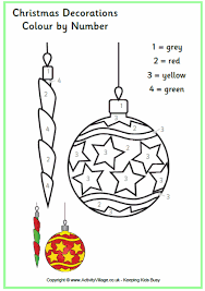 colour number christmas decorations printable holiday