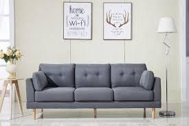 madison home usa mid century modern ultra plush linen fabric sofa