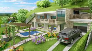 architectural visualization self heating ecological houses