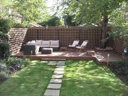 lawn garden cool garden features decor with brown wood deck