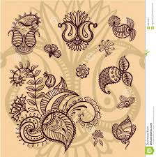 henna designs stock photos floral paisley design set