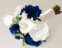 white and blue roses silk ivory white and blue roses bouquet wedding ideas