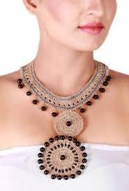 crochet necklace black images Necklaces golden black crochet necklace tjori jpg