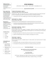 sample resume of security guard information security officer