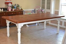 farm style wood dining table with well made solid wood butcher