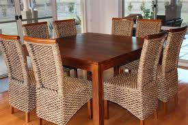 custom diy square dining room table with rattan seats 8 with high
