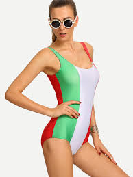 Rebel Flag Swimsuits Color Block Italian Flag One Piece Swimwear Shein Sheinside