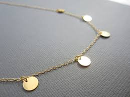 disc necklace gold disc necklace small disc necklace 5 gold filled disc