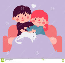 couple hugging on sofa with cat stock vector image 71624304