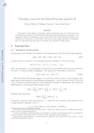 PDF Travelling Waves for the Gross Pitaevskii Equation II
