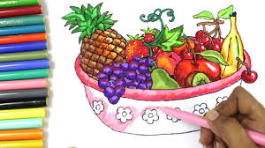 fruit basket how to draw fruits and vegetables and coloring dresses for kids