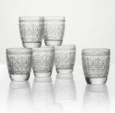 decorazioni bicchieri set 6 bicchieri vetro trasparente decorato a rilievo