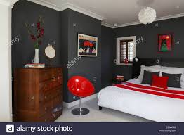 red white and grey colour scheme in modern bedroom brighton